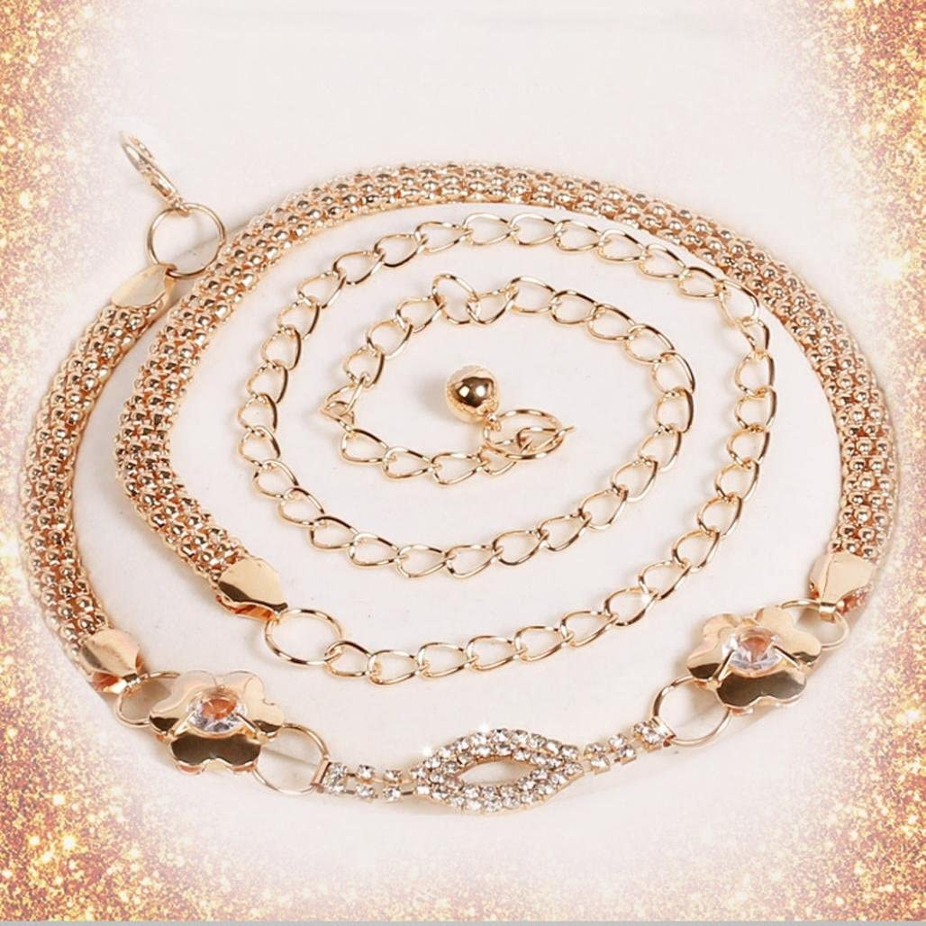 Sinfu Belts for Womens Lady Fashion Metal Chain Pearl Style Belt Chain