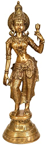 Exotic India Large Size Goddess Lakshmi Figurine, Natural Brass