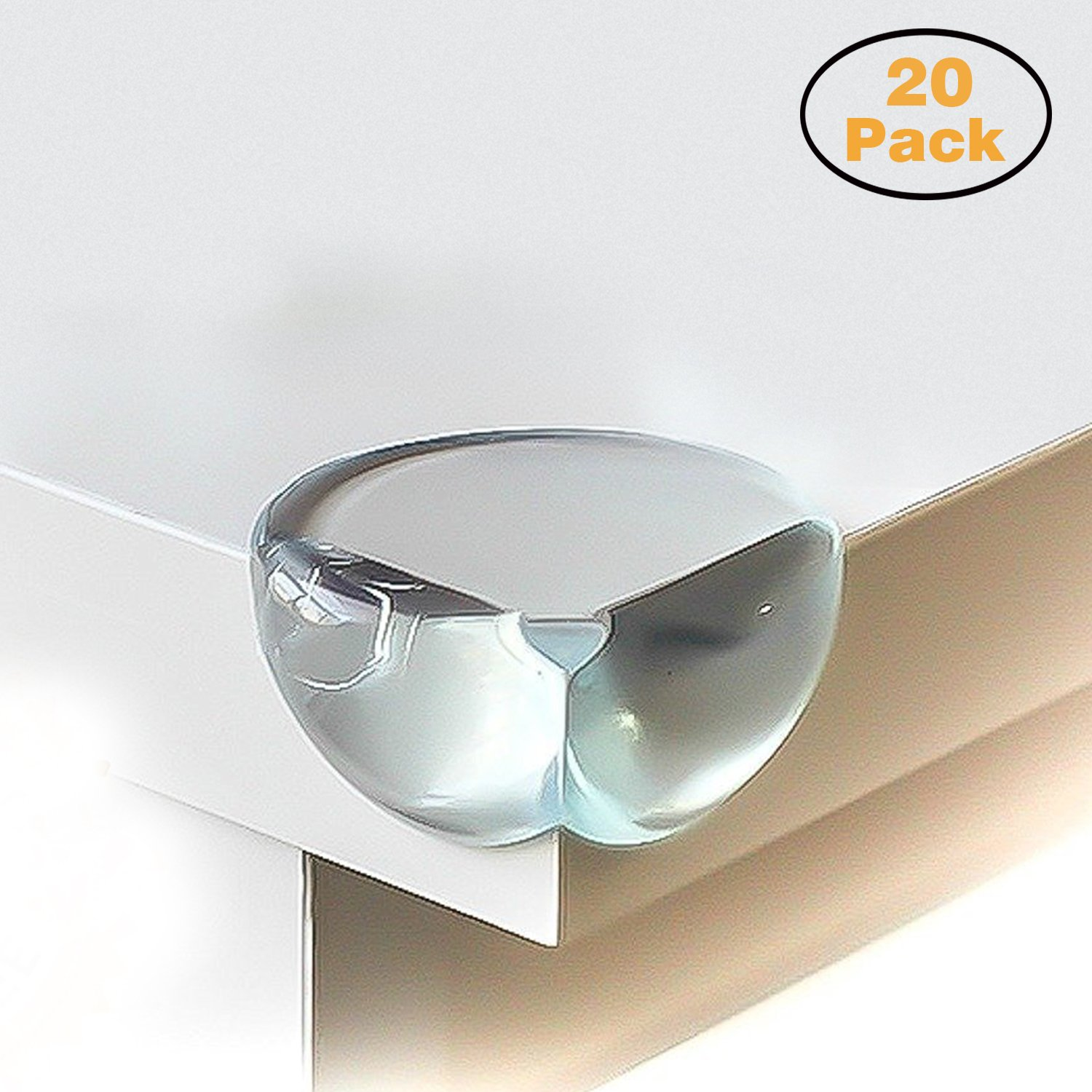 CALISH Safety Corner Protectors Guards (20pcs - Large - Clear) Table Corner Guards for Child and Baby, with 20pcs Strong Adhesive for Backup Use 18033429554