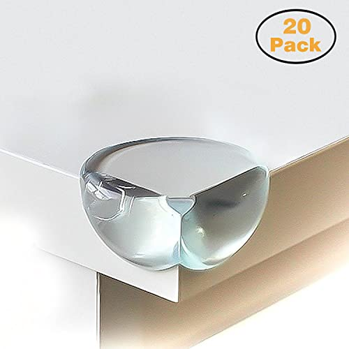 CALISH Safety Corner Protectors Guards (20pcs - Large - Clear) Table Corner Guards for Child and Baby, with 20pcs Strong Adhesive for Backup Use