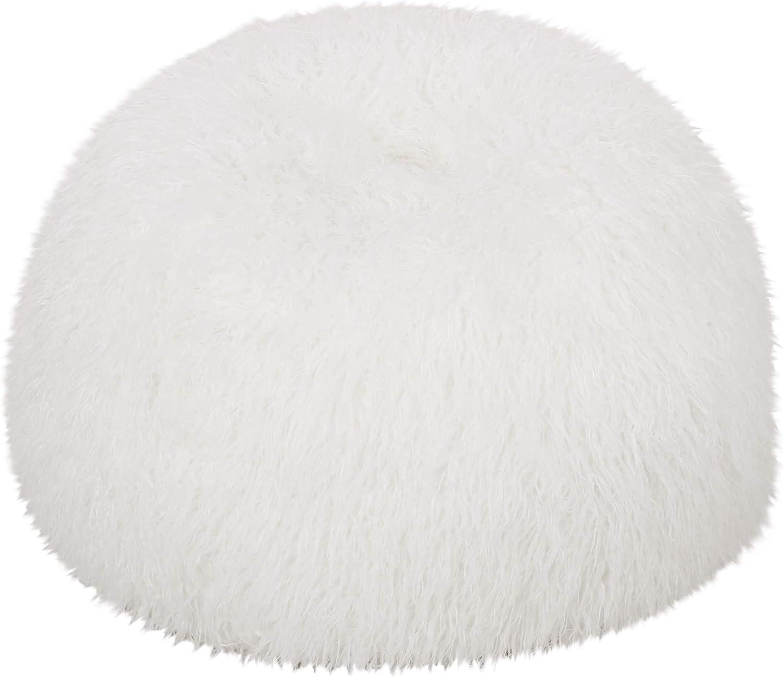 Christopher Knight Home Mosier Modern Glam 3 Foot Faux Fur Bean Bag, White