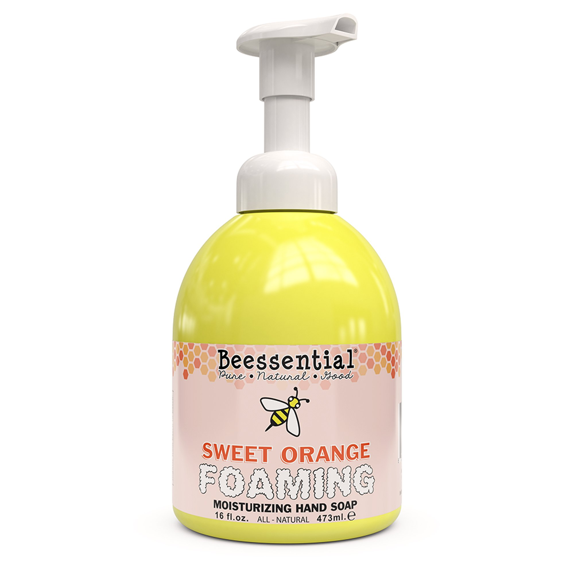 Beessential All Natural Foaming Hand Soap, Orange Essential Oils, Made with Moisturizing Aloe & Honey - Made in the USA, 16 oz