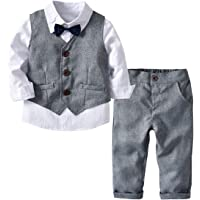 MSSuger Little Boys Gentleman Formal Suit Set Vest, Pant, Shirt Bow Tie, Baby Toddler Long Sleeve Wear Weding 4Pcs…