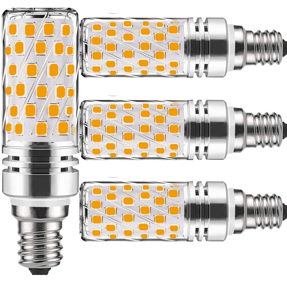 E12 LED Bulb Candelabra Led Bulbs Warm White 15W 6000K,100 watt Equivalent,1500Lm Edison Screw,Non dimmable,Candle E12 Ceiling Fan Light Bulb Led Candelabra Bulb Corn bulbs(4 Packs)