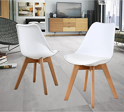NOB Mid Century Modern Kitchen and Dining Room Chair,Set of 2 White