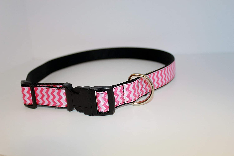 Pink dog collar Dog Collar pink chevron designer collar Chevron Hot Pink Glitter Dog Collar