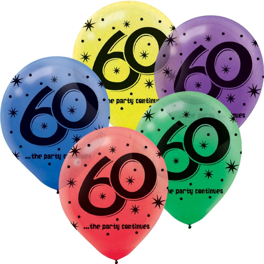 ''60'' Printed 12in Balloon Assortment 15ct