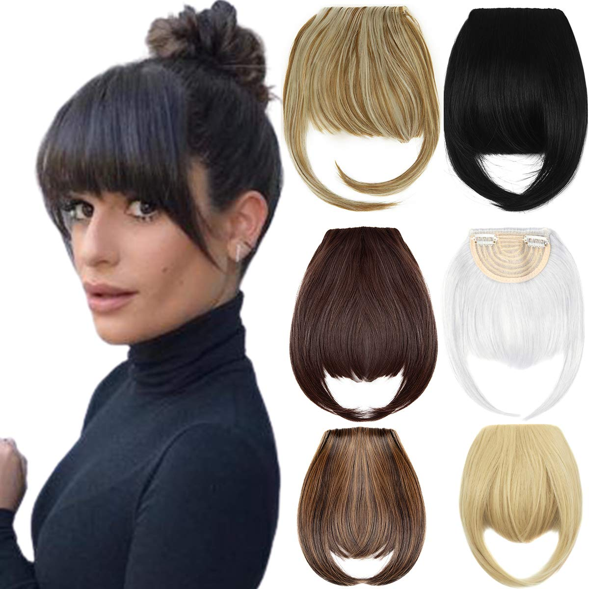 "12"" Clip in Bangs Hair Extensions Thick Full Neat Bangs Fringe Hair  Extension with Temples One Piece Clip on Front Bangs Hairpiece"