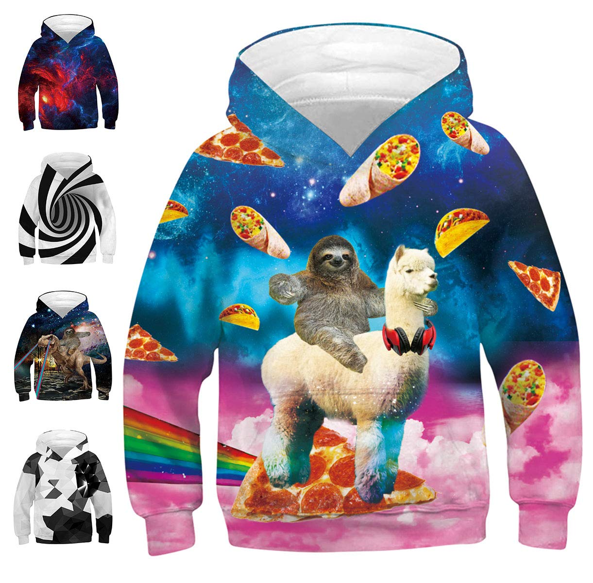 Teen Pullover Hoodies Pink Cloud Alpaca Pizza Cat Front Pouch Long Sleeve Leisure Tacky Sweatshirt Ink Fashion Digital Jersey Spring Autumn for Bro Friends Guys Green Blue (Alpaca&Sloth,S)