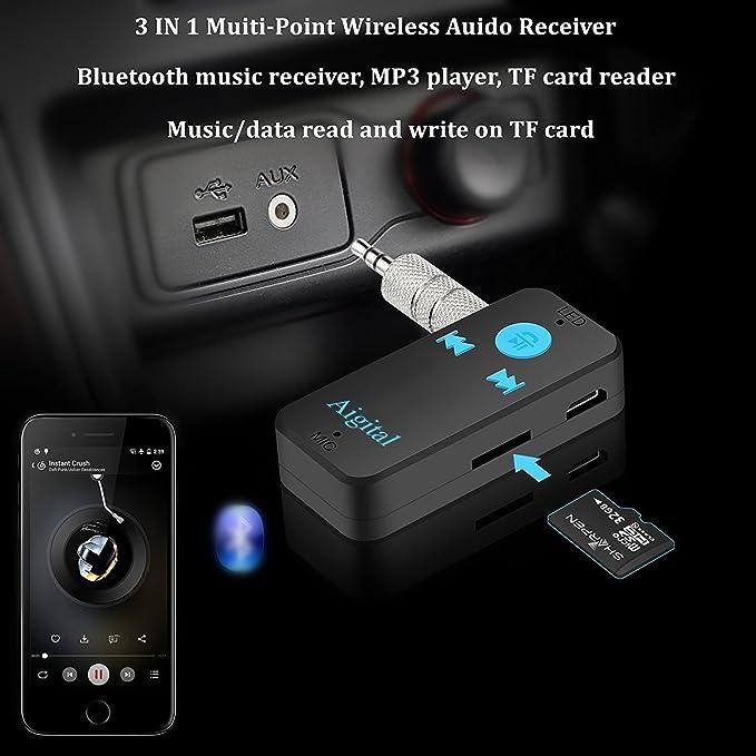 Receptor Bluetooth Aigital Adaptador Audio Inalámbrico Kit Bluetooth 4.1 con Salida Estéreo 3.5 mm para Altavoz, Auriculares, Streaming, casa y Kit Auto ...