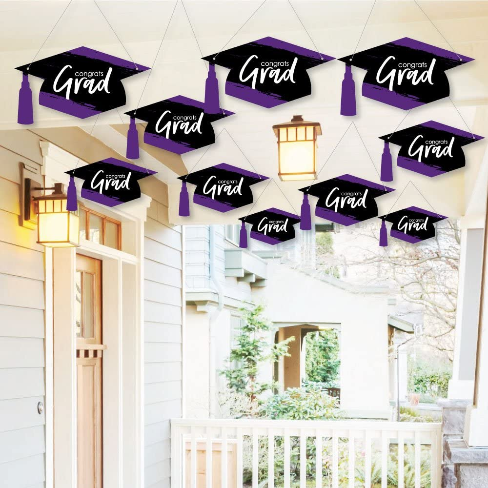 Big Dot of Happiness Hanging Purple Grad - Best is Yet to Come - Outdoor Hanging Decor - Purple Graduation Party Decorations - 10 Pieces