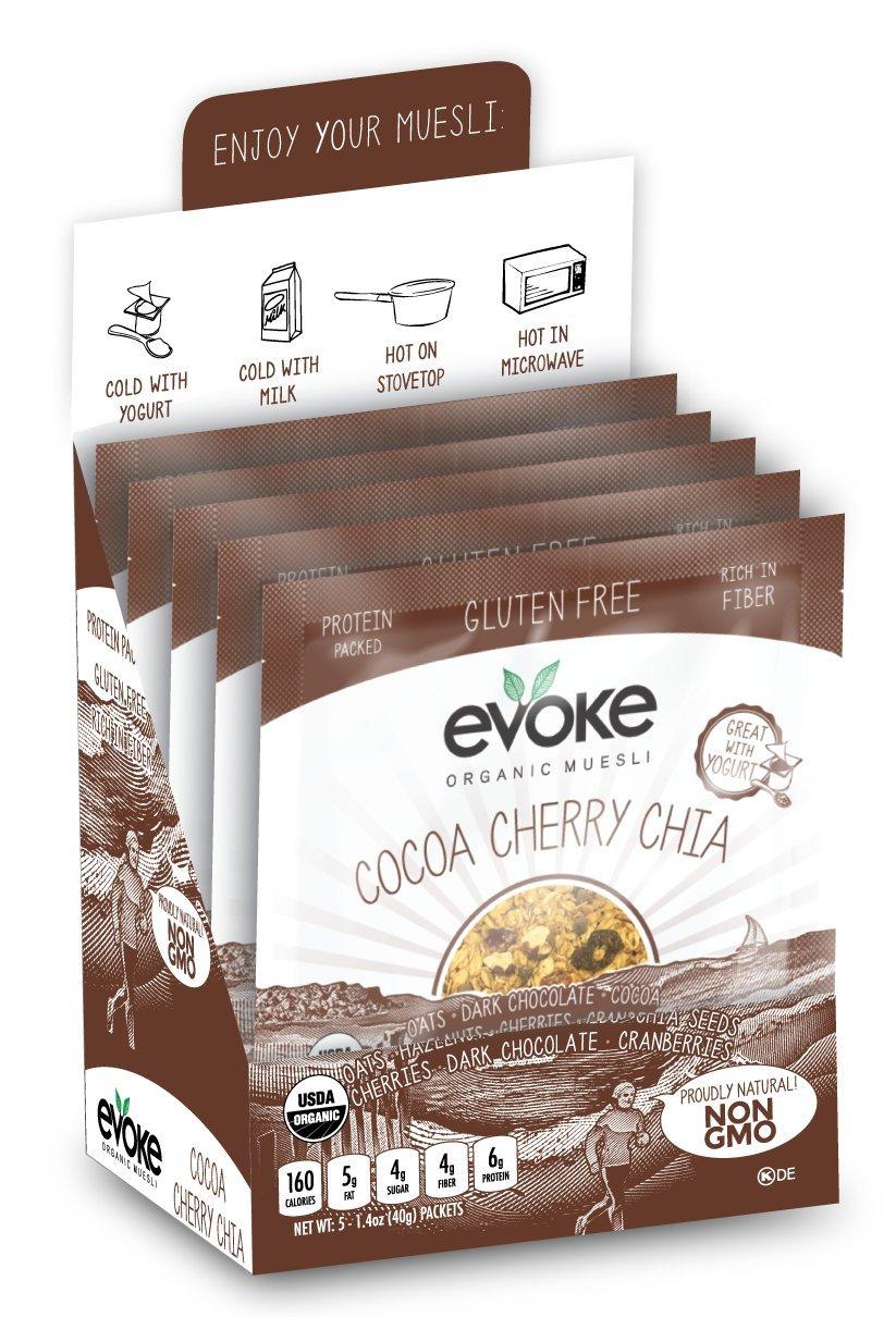 Evoke Single-Serve Organic Gluten-Free Muesli, Cocoa Cherry Chia, 5 Count (Pack of 12)
