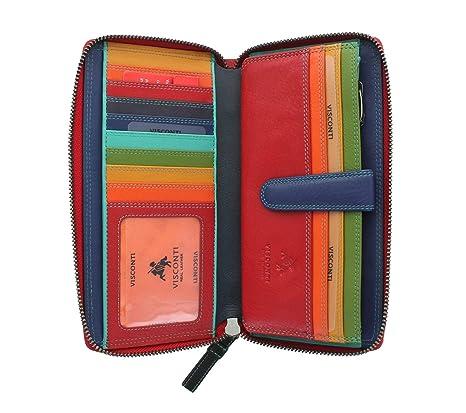 Visconti Colección Spectrum Iris Monedero de Cuero con una Cremallera Alrededor, RFID SP33 Rojo