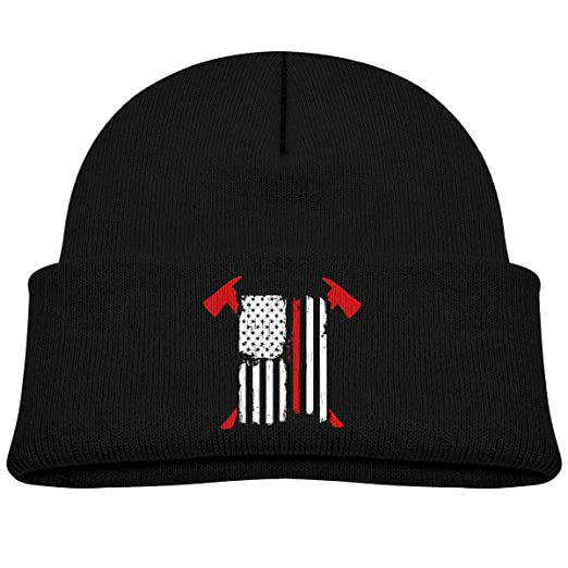Men Women Firefighter Red Line American Flag with Crossed Axes Skull Hat Beanie Cap Winter Knit Hat Cap