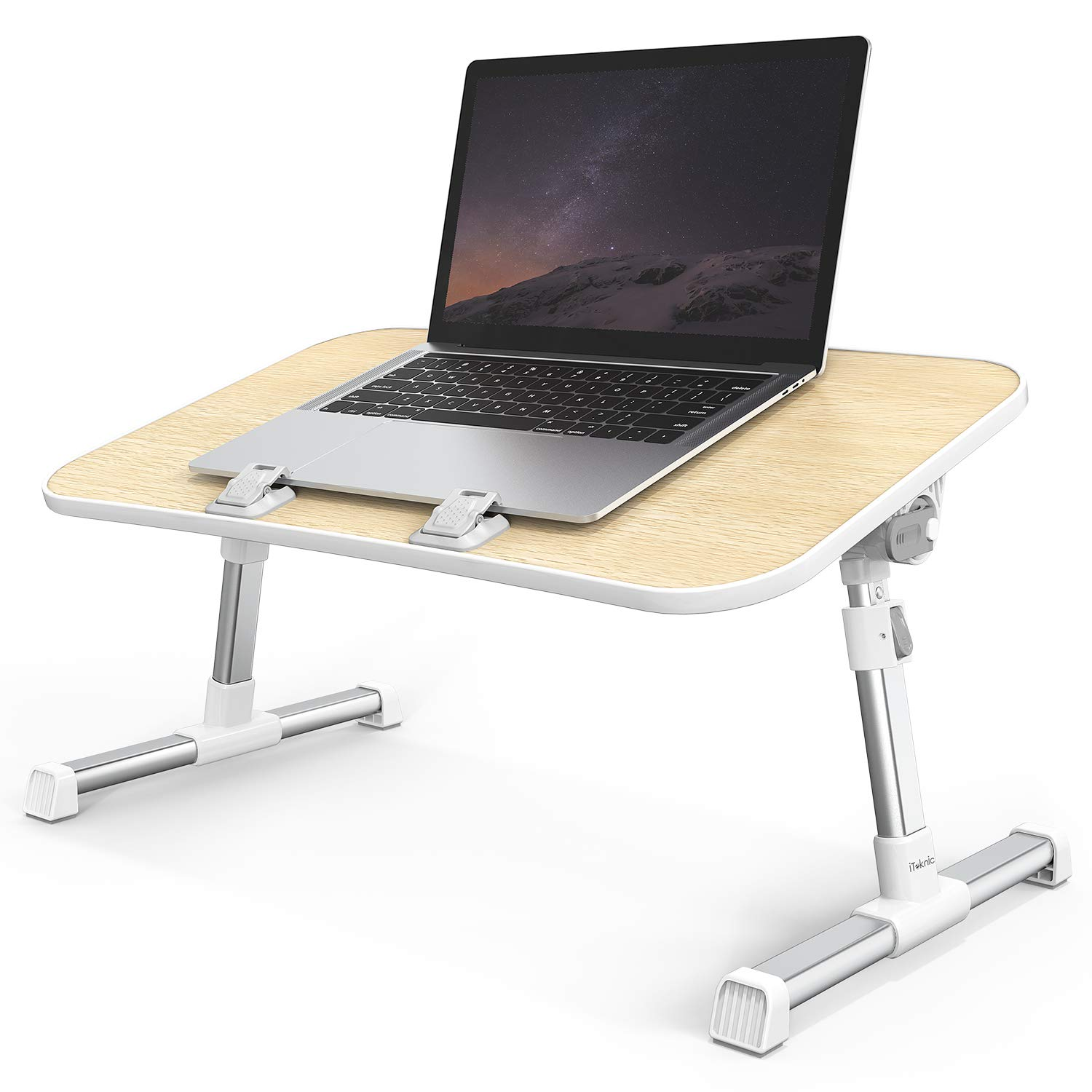 Laptop Desk, iTeknic Laptop Table, Adjustable Laptop Bed Tray, Foldable Laptop Bed Table, Portable Laptop Bed Stand for Sofa, Bed, Couch, Floor, Car by iTeknic