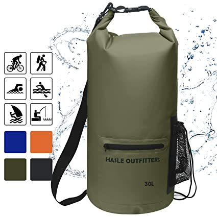 HASLE OUTFITTERS Waterproof Dry Bag-10L 20L 30L Roll Top Compression Sack  with Shoulder Straps and Front Zippered Pocket Keeps Gear Dry for Boating 9d5f1e7a672a6