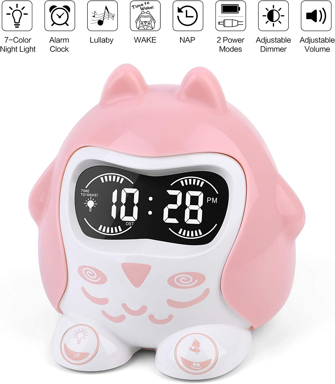 White Noise Sound Machine, Kids Sleep Trainer Time to Wake Alarm Clock, Baby Sleep Soother with 9 Sounds Lullabies, Portable Sound Therapy 7 Colored Night Light, Timer, NAP, Plug In Or Battery Powered