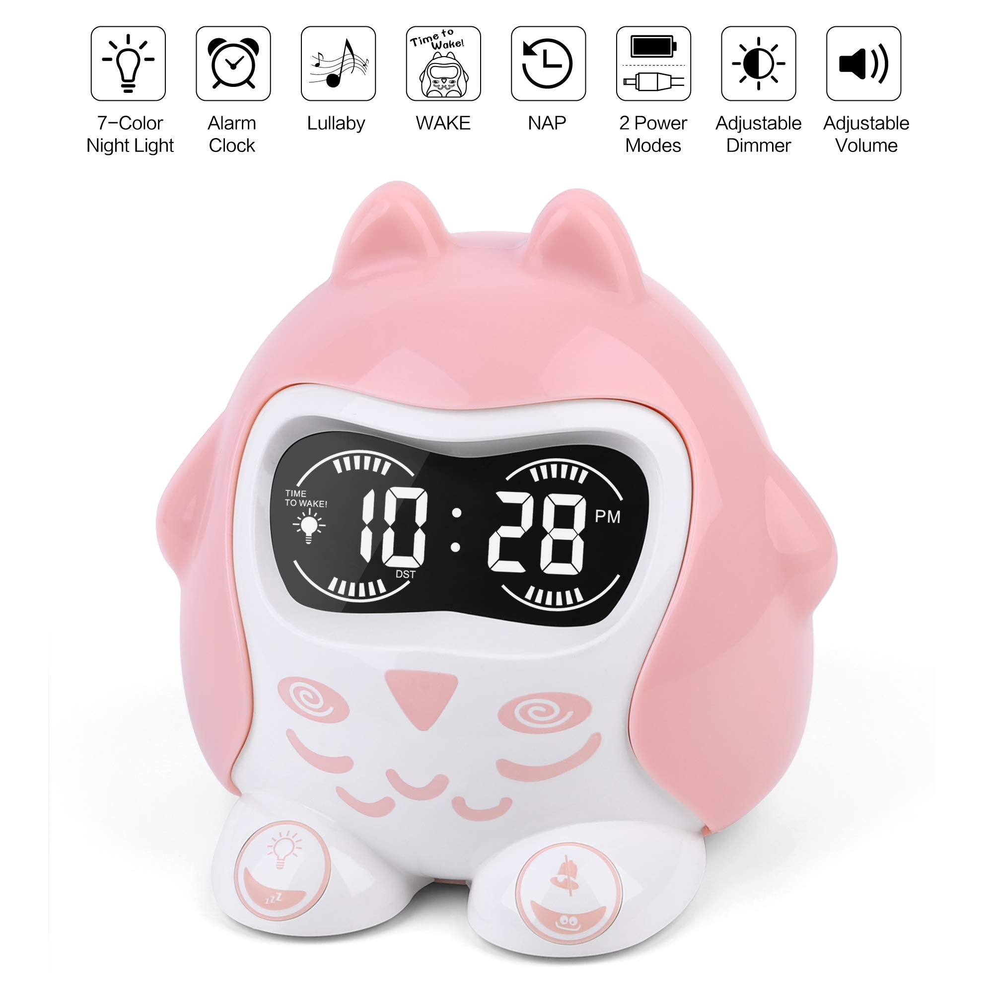 White Noise Sound Machine, Kids Sleep Trainer&Time to Wake Alarm Clock, Baby Sleep Soother with 9 Sounds&Lullabies, Portable Sound Therapy&7 Colored Night Light, Timer, NAP, Plug In Or Battery Powered by PPLEE