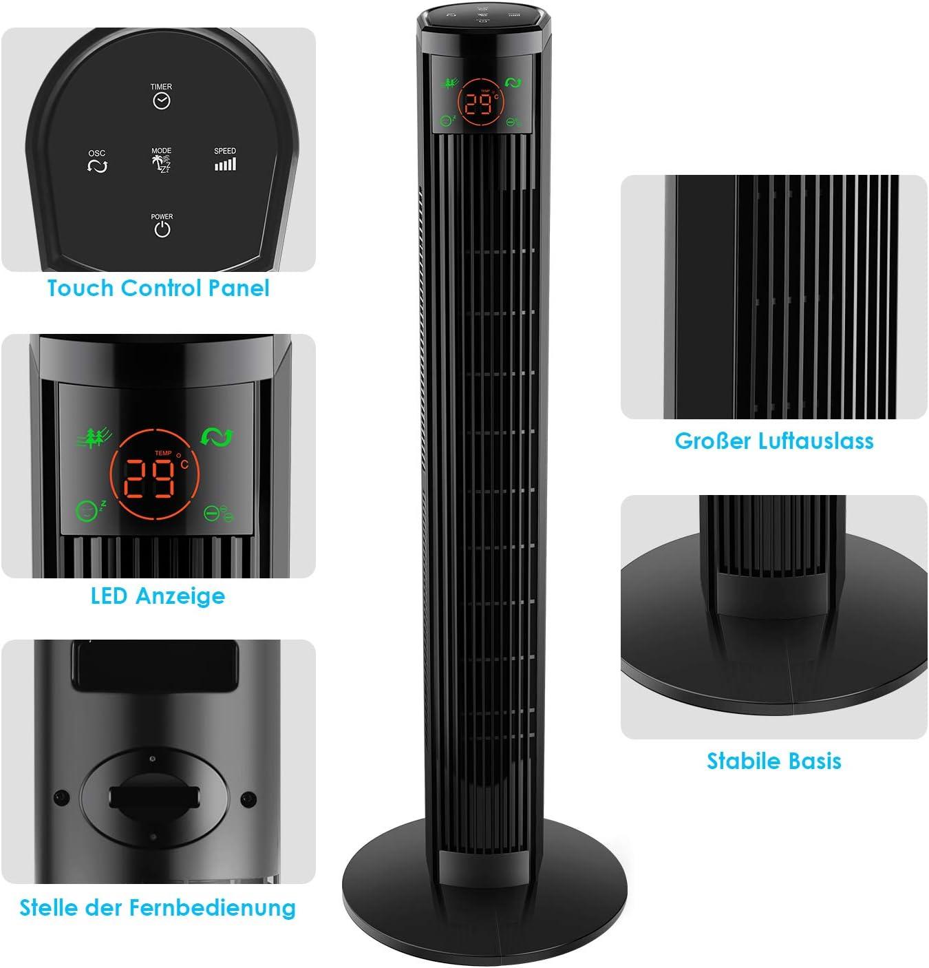 96 cm, 3 velocidades, 3 modos, pantalla LED y panel t/áctil, temporizador de 12 h, oscilante de 60/°, bajo ruido, 45 W color negro Ventilador de torre con mando a distancia Amzdeal