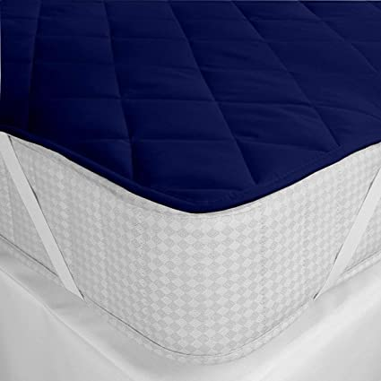 Gemshop Cotton Waterproof Single Bed Mattress Protector (Blue, 36x78 Inch)