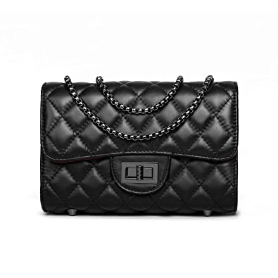 Amazon.com  Genuine Leather Purses And Handbags Small Quilted Crossbody  Bags For Women Fashion Clutch with chain strap - Black  Shoes 9757f8c488f2