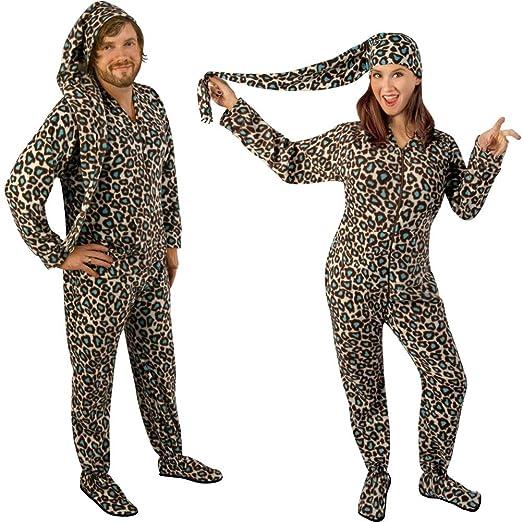 Blue Leopard Fleece Drop Seat Footed Pajamas with Long Night Cap, 6