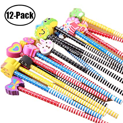 b3435b0bd Amazon.com   BUSHIBU Kids Wooden Pencils 12 Pack Colorful Stripe Pencil  With Cute Cartoon Animals Eraser for School Supplies and Children Prize  Gifts ...