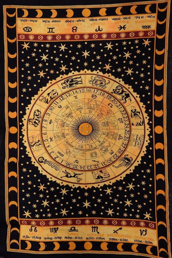 Trade Star Zodiac Tapestry,Sun Moon Stars Arazzi,Celestial Wall Tapestry,Decorazioni per la casa,Plaid in Cotone Indiano per Letto