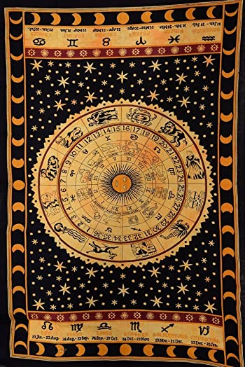 Trade Star Exports Black Zodiac Sign Celestial Tapestry Wall Decor, Astrological Sun Moon Tapestry Wall Hanging, Horoscope Psychedelic Tapestries Wall Art