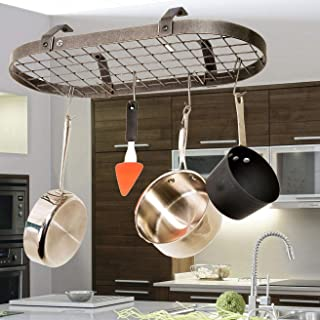 product image for Handcrafted Low-Hanging Classic Oval w 12 Hooks Hammered Steel