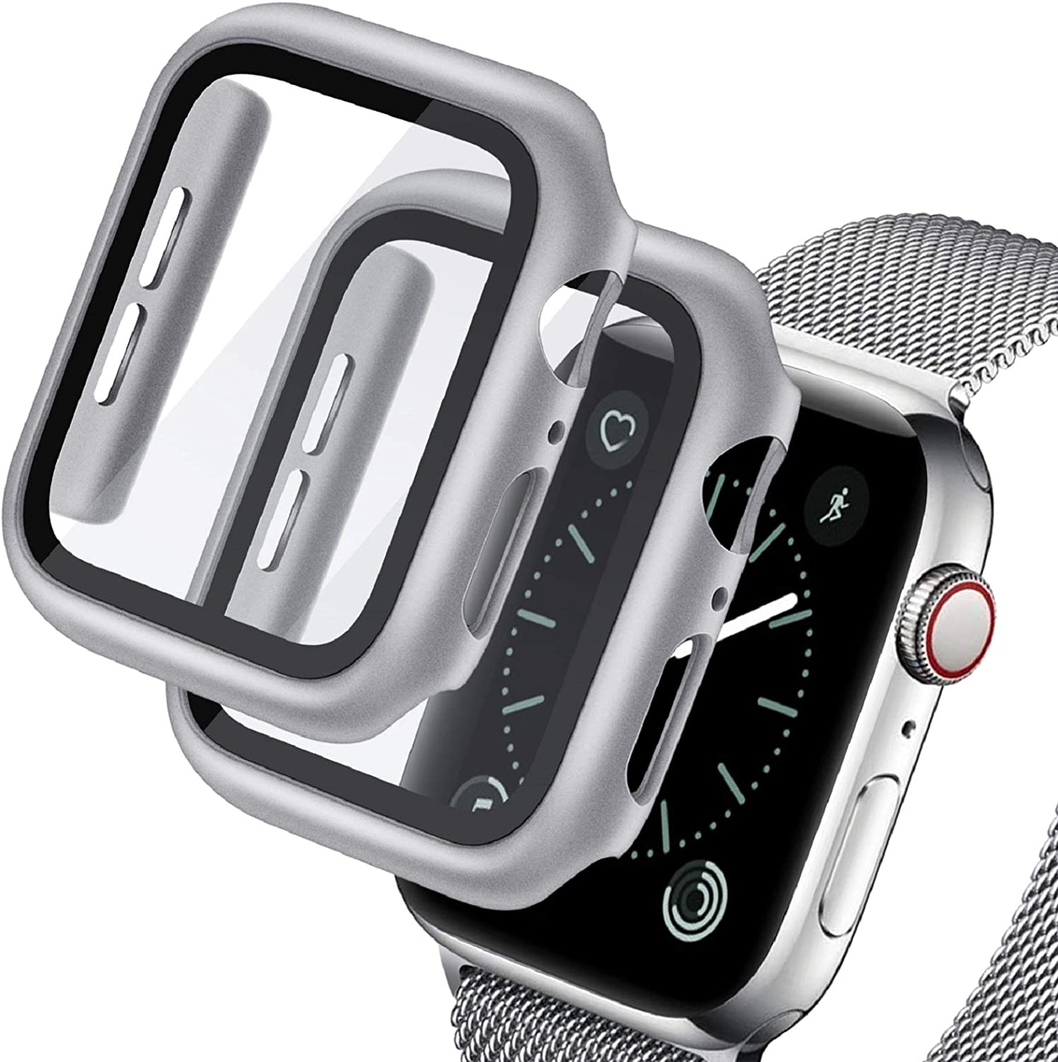 Deilin 2 Pack Hard PC Case with Tempered Glass Screen Protector Compatible Apple Watch Series 6/5/4/SE 44mm, Case for All Around Coverage Protective Bumpers Cover for iWatch Series 6/5 /4 /SE 44mm