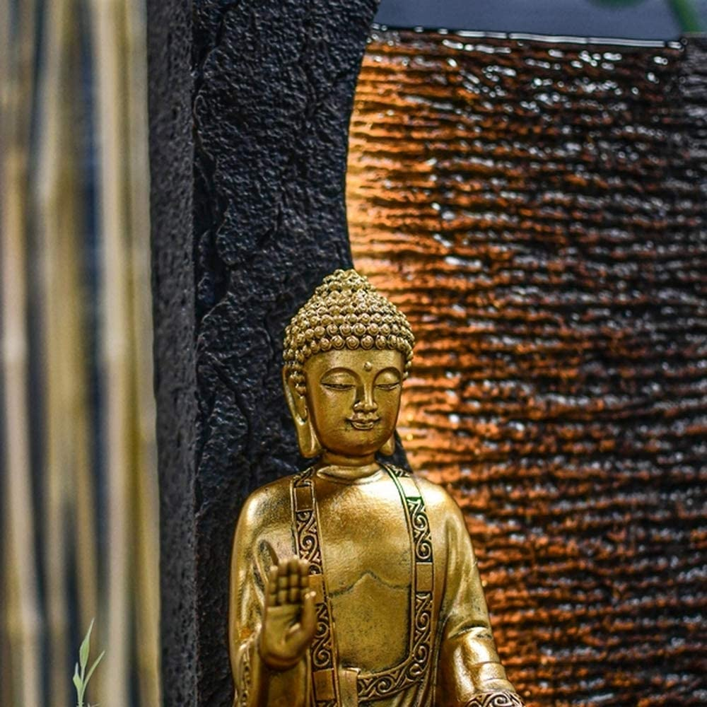 Artikel Feng Shui und Wohlbefinden Wasserwand L 22 x B 30 x H 40 cm ZenLight originelle Geschenkidee Beleuchtung Brunnen LED warmwei/ß Zimmerbrunnen Buddha Jati