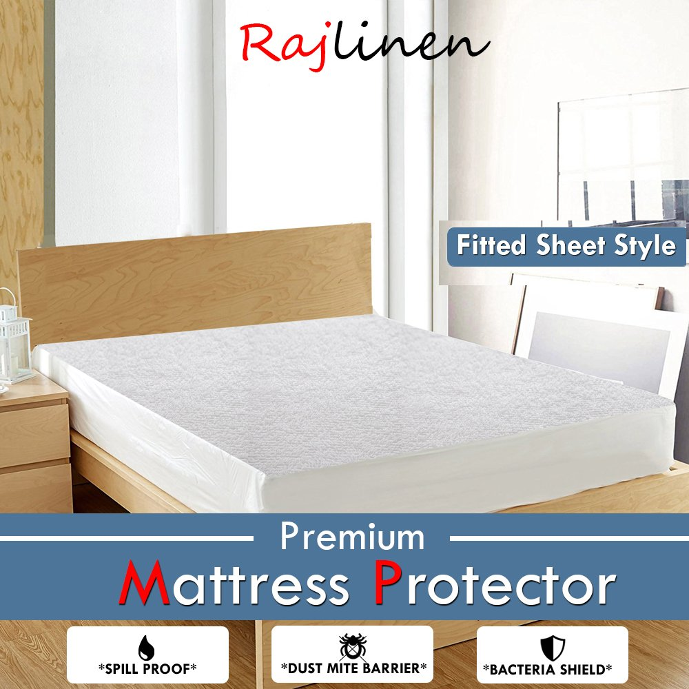 Encasement Style, Short Queen +8 Drop Rajlinen Luxury Cotton Waterproof Mattress Protector White Solid 100/% Anti-Allergy Anti-Bacterial Breathable Waterproof Membrane