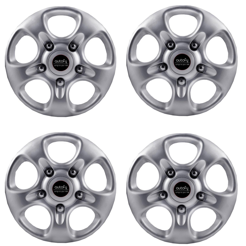 Autofy 16-inch 5 Spokes Snap-On Universal Wheel Cap Wheel Cover Hub Cap (Set of 4, Grey)