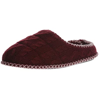 Amazon.com | Dearfoams Women's Quilted Cable Knit Clog Slipper, Cabernet, M Regular US | Mules & Clogs