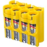 Storacell by Powerpax AAA Battery Caddy, Yellow, Holds 8 Batteries