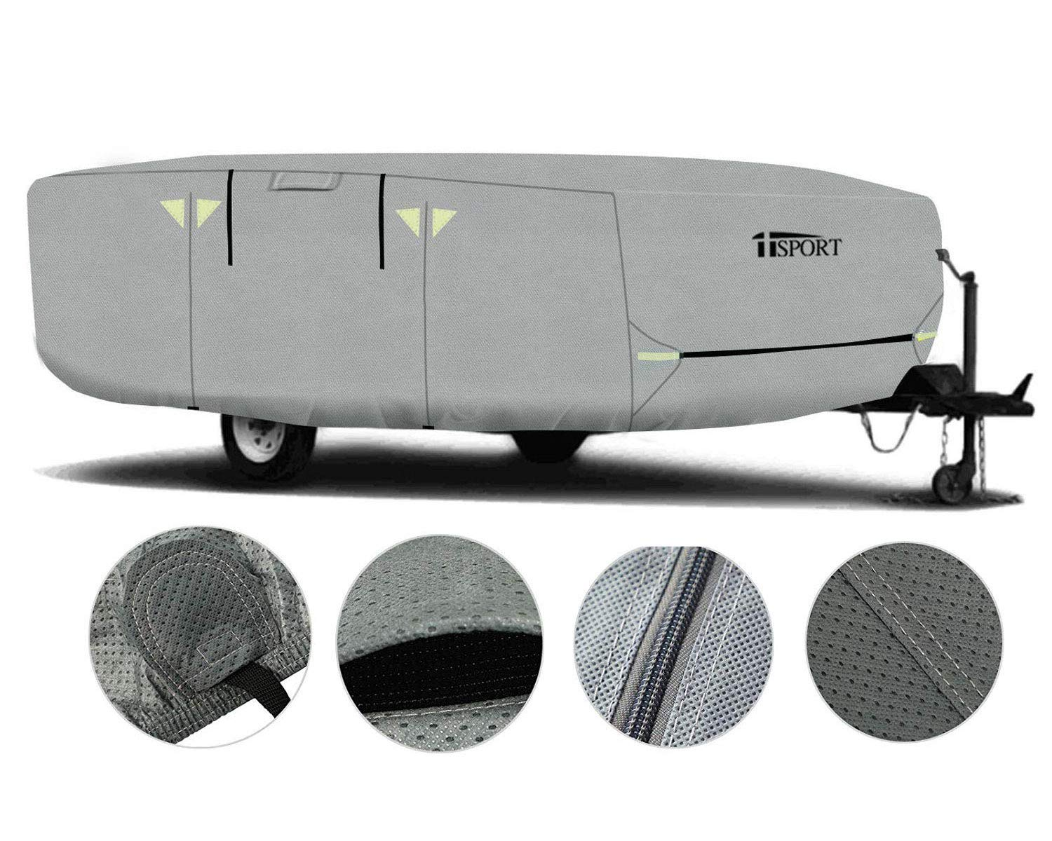 Heavy Duty Weatherproof RV Storage Cover with 4-Ply Poly Fabric Roof iiSPORT Water-Repellent Pop Up Folding Camper RV Cover Fits 12-14ft Long Trailers