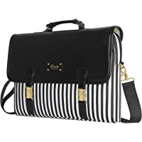 Kamlui Laptop Bag 15.6 inch - for Women PU Waterproof Computer Laptop Case Shoulder Messenger Macbook Pro Air (Black White)