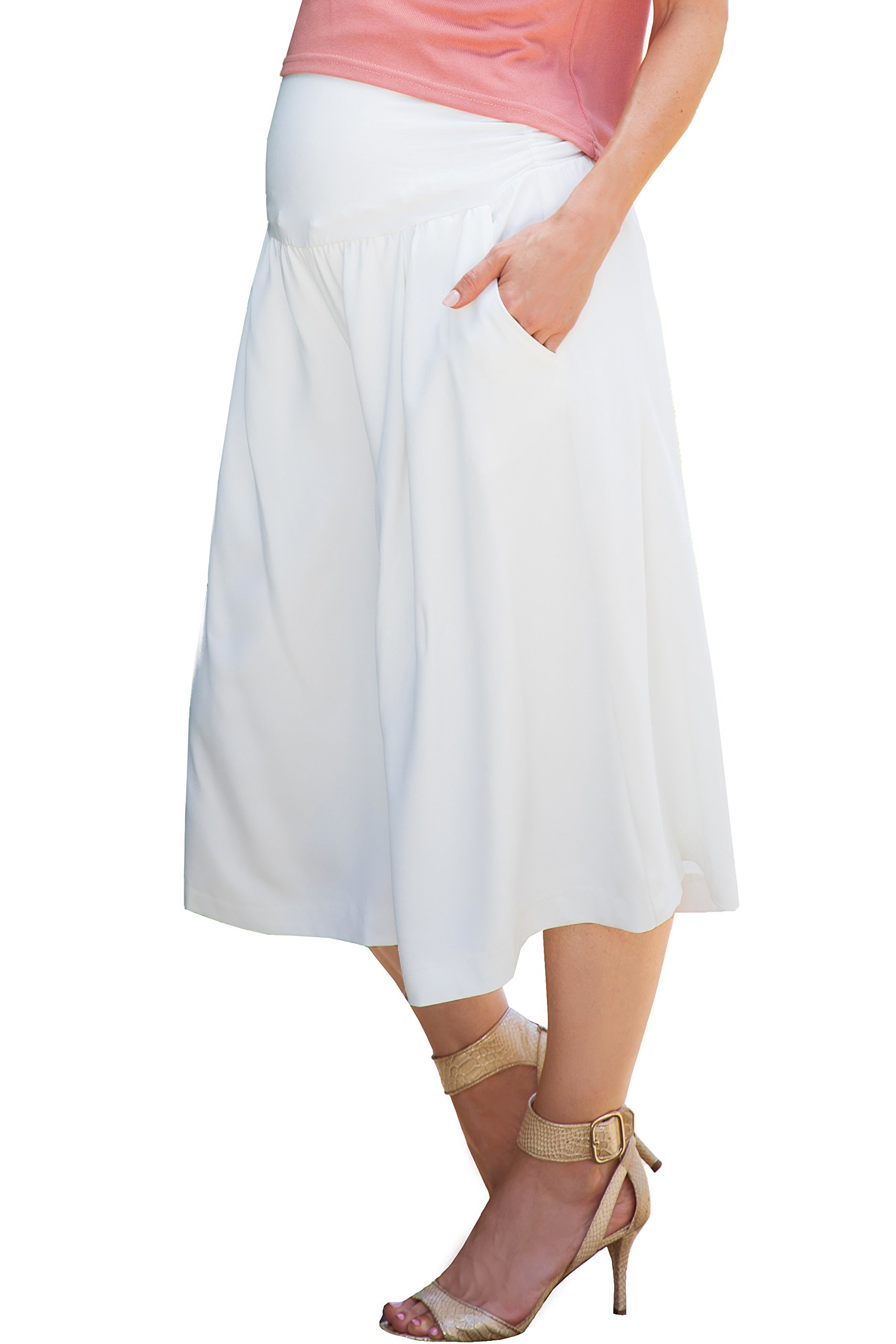 Sweet Mommy Maternity Women's Elastic Wide Leg Culottes Pants White L by Sweet Mommy