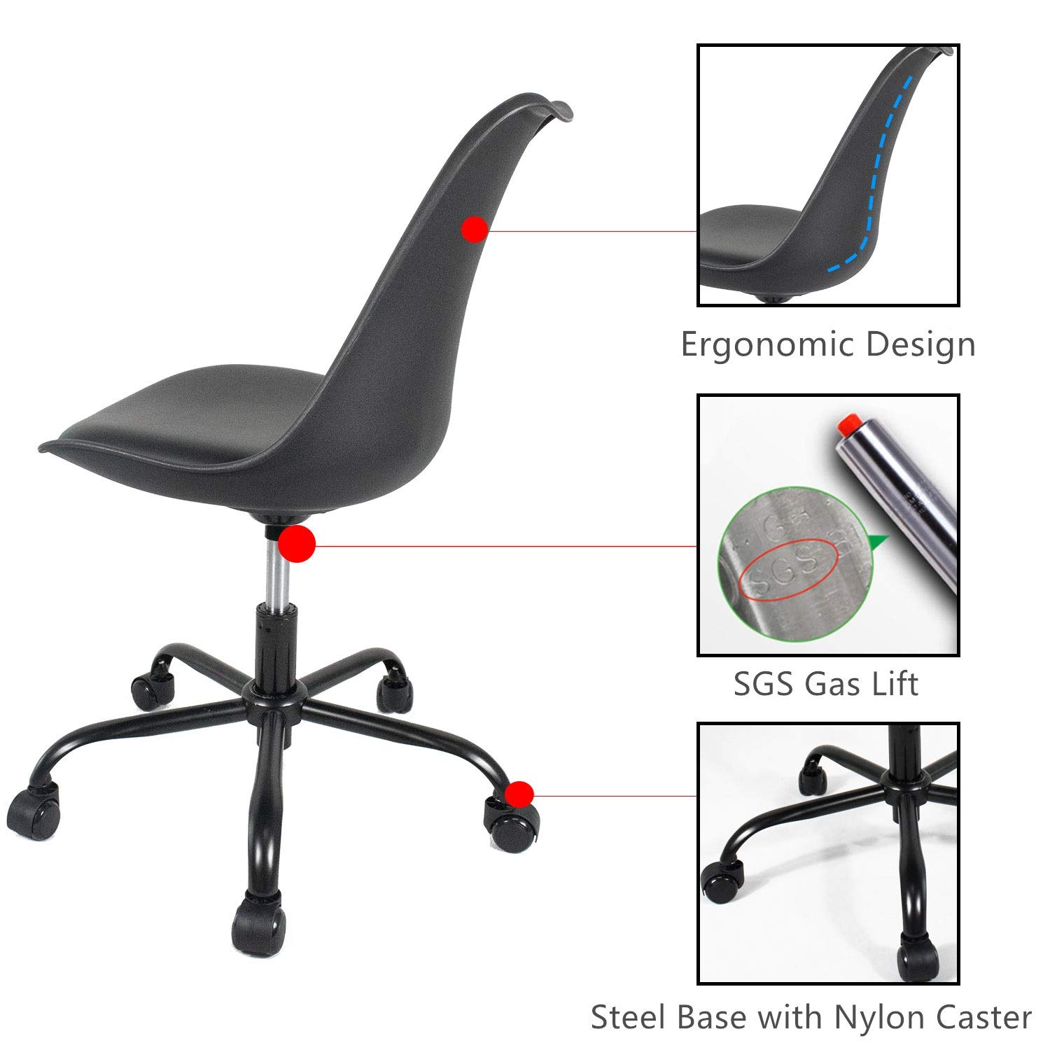 Office Chair Rolling Adjustbable Upholstered Modern Home Desk Computer Chairs for Kids Adults Yuiky Black