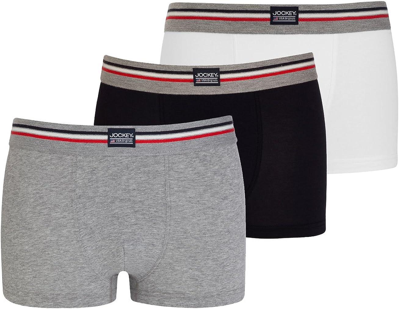 Jockey 3er Pack Herren pantalón Corto Trunk Boxer Shorts USA Originals Uni–Schwarz