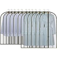 GoMaihe 12 sztuk pokrowców na ubrania, długie, 60 x 120/100 cm, czarne krawędzie, przezroczyste torby na garnitur…