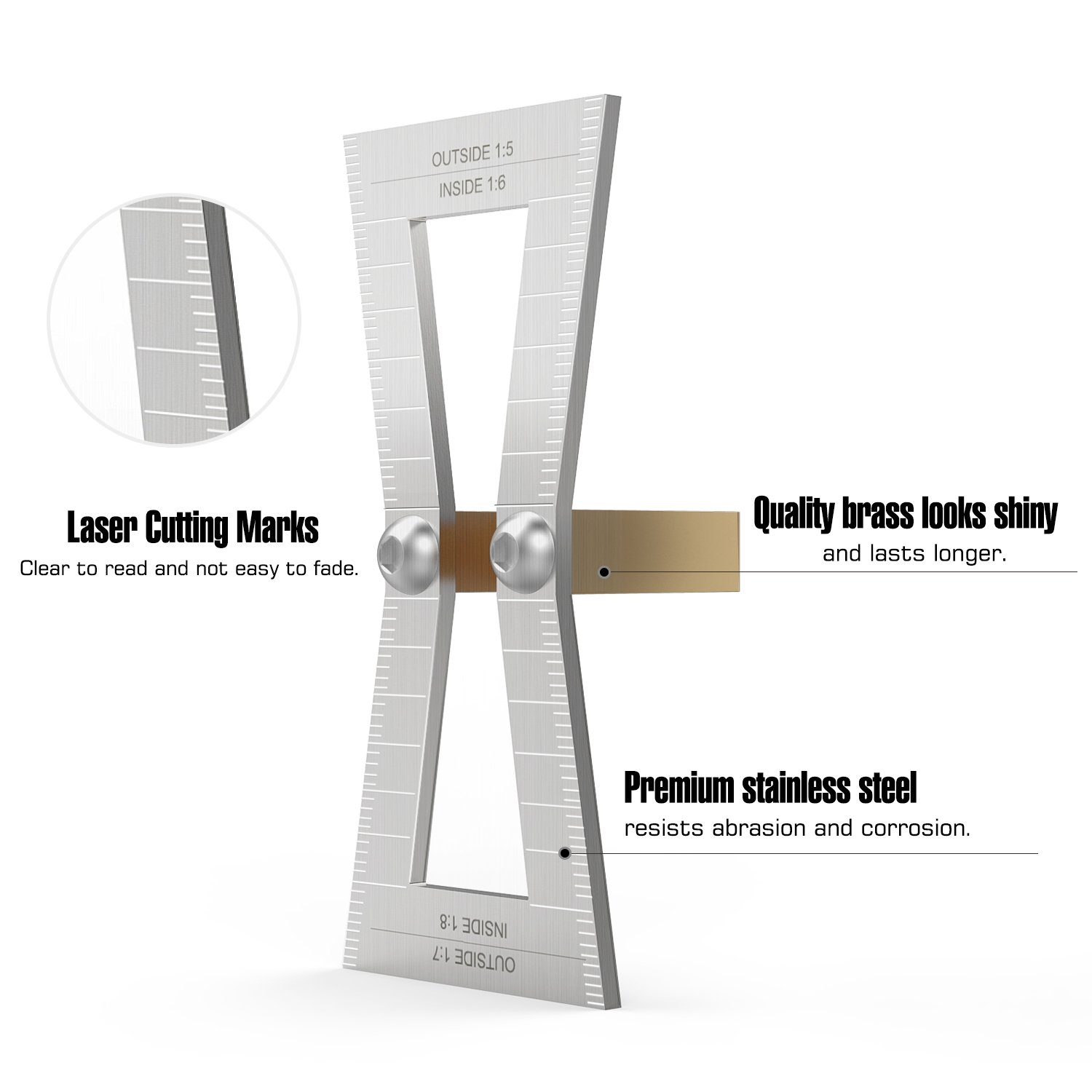 Housolution Dovetail Marker, Hand Cut Wood Joints Gauge Dovetail Guide Tool with Scale, Dovetail Template Size 1:5-1:6 and 1:7-1:8 for Woodworking - Silver by Housolution (Image #4)