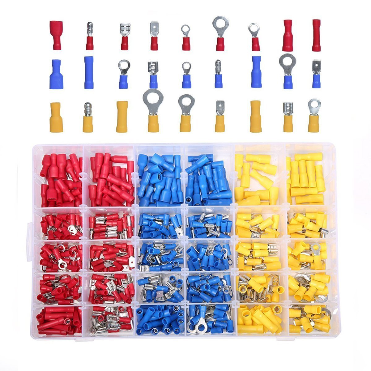 480X Insulated Electrical Wire Terminal Assorted Crimp Spade Connectors Kit Case