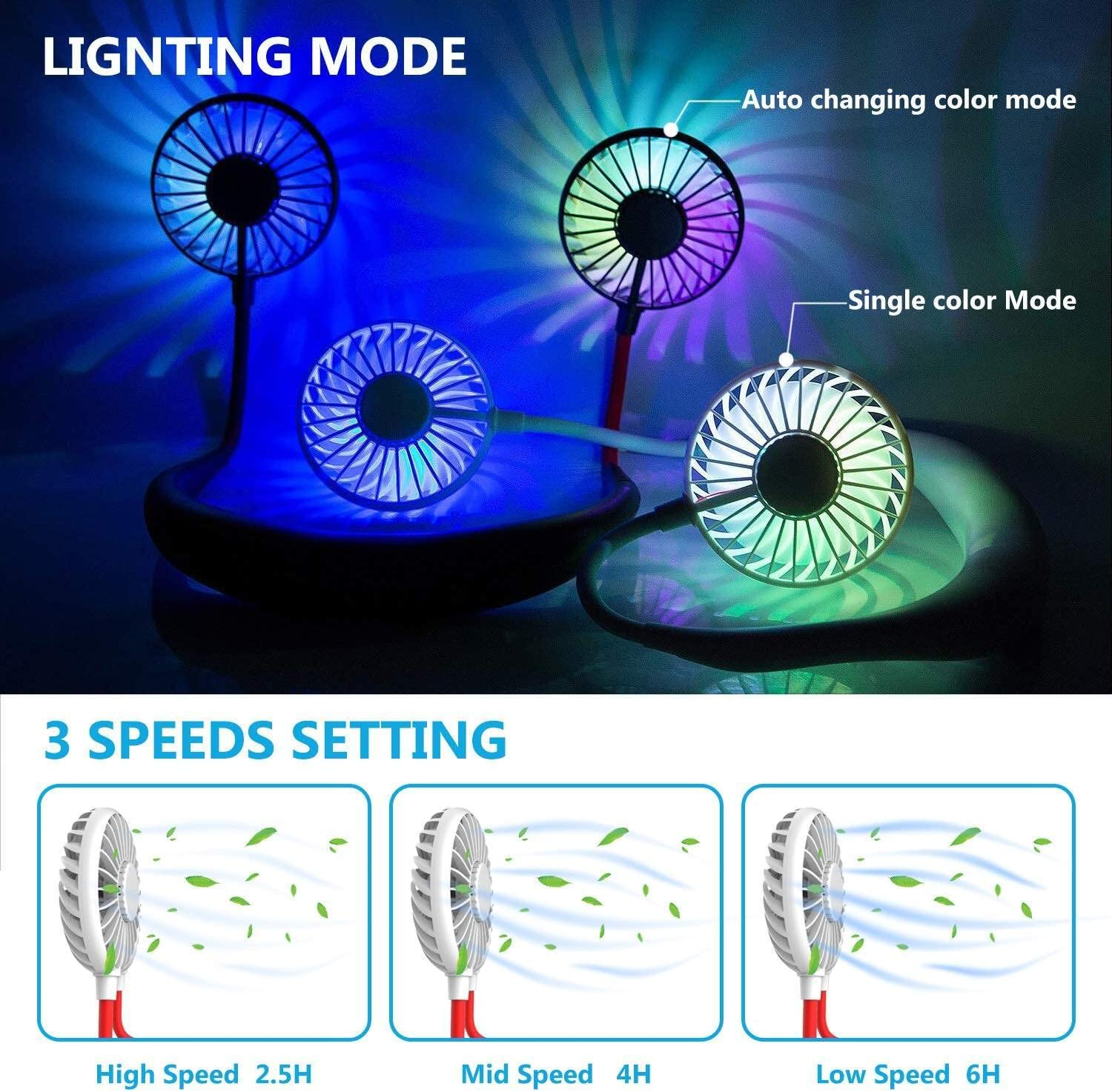 Usb Chargeable 3 Speeds For Outdoor Walking Sports Traveling Hiking,White LED 7 Color Light 360/° Rotation Headphone Design Wearable Dual Wind Head Fan Portable Neckband Mini Fan