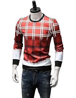 nihiug Herren Sweatshirt Musterpullover Herbst Winter Herren Plaid  Digitaldruck Pullover Herren Kleid Hübsche Rote Jacke 9d579429b4