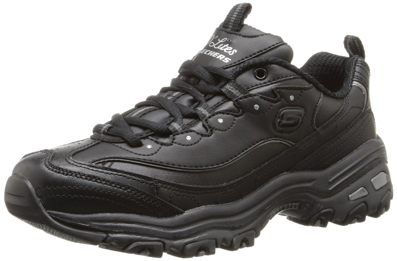 Skechers Women's D'Lites Memory Foam Lace-up Sneaker B014GNJ8QS 6.5 B(M) US|Black Silver