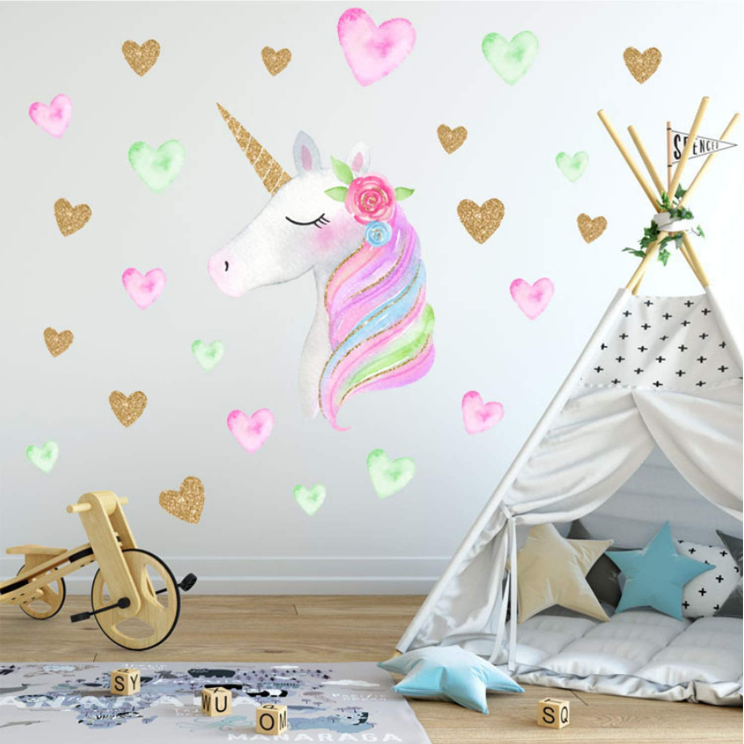 Left AIYANG Magical Unicorn Wall Decals Heart Wall Stickers for Girls Baby Kids Room Decoration