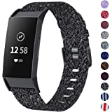 NANW Woven Bands Compatible with Fitbit Charge 3 Bands/Charge 3 SE, Soft Breathable Fabric Wristbands Strap Sports Accessories for Women Men, Large Small