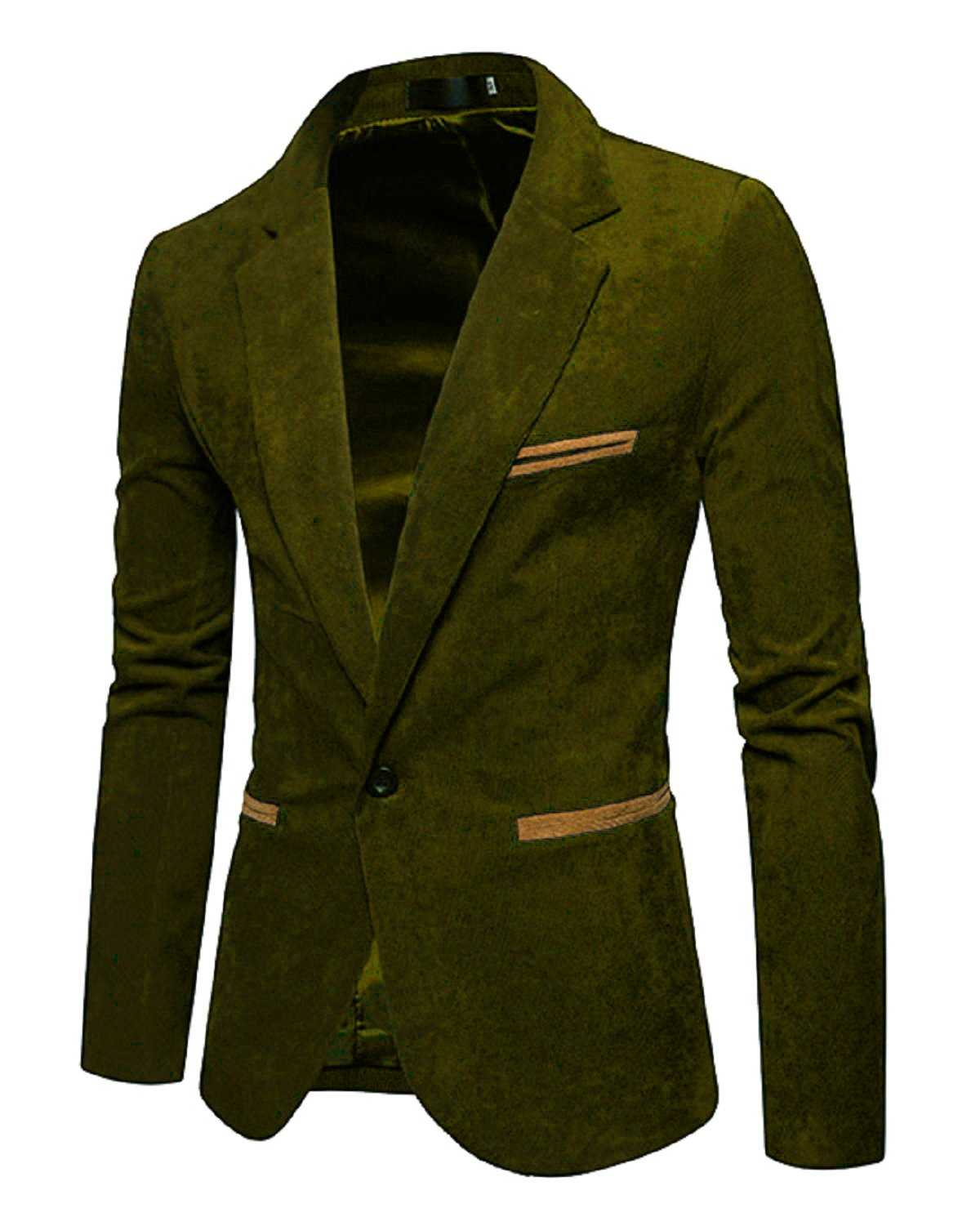 Men's Long Sleeve Regular Fit Corduroy Lapel Casual Blazer Jacket One Button Coat Green Large